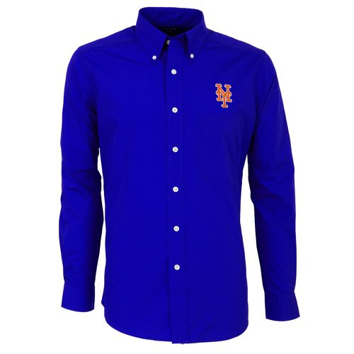 Antigua Men's New York Mets Dynasty Long Sleeve Button Down Shirt