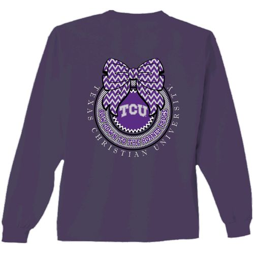 New World Graphics Women's Texas Christian University Ribbon Bow Long Sleeve T-shirt