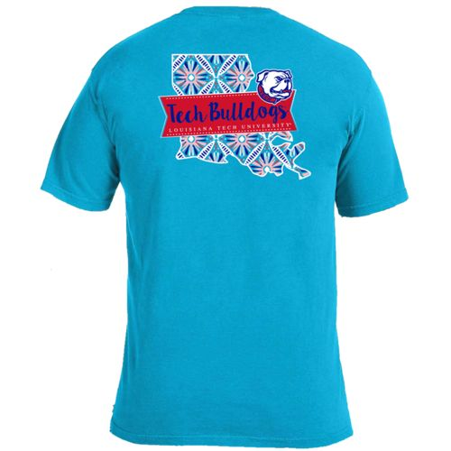 Image One Women's Louisiana Tech University Pattern Scroll State T-shirt