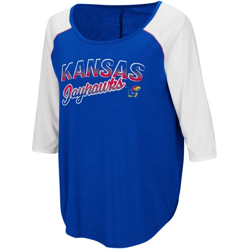 Colosseum Athletics Women's University of Kansas Draw A Crowd Baseball T-shirt
