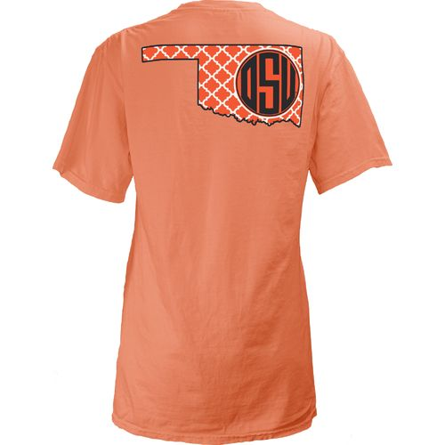 Three Squared Juniors' Oklahoma State University Quatrefoil State Monogram T-shirt