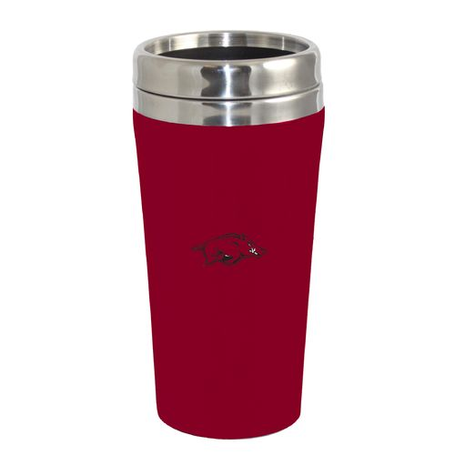 The Fanatic Group University of Arkansas 16 oz. Rubberized Stainless-Steel Tumbler