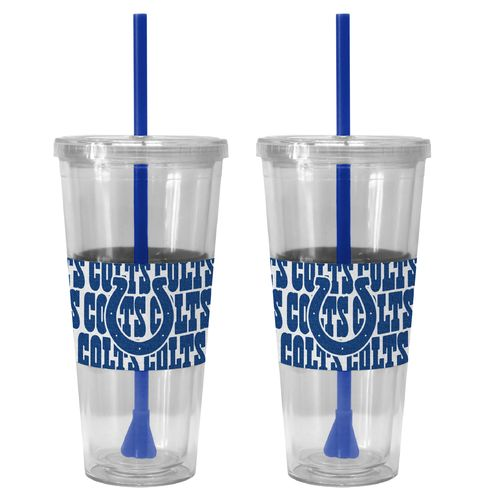 Boelter Brands Indianapolis Colts Bold Neo Sleeve 22 oz. Straw Tumblers 2-Pack