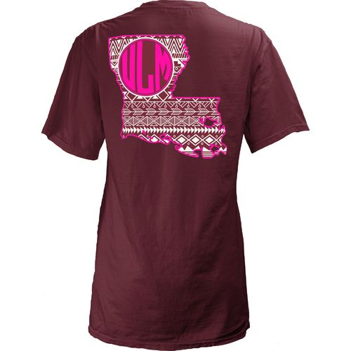 Three Squared Juniors' University of Louisiana at Monroe Moonface Vee T-shirt