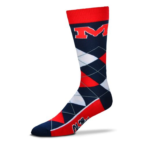 For Bare Feet Unisex University of Mississippi Team Pride Flag Top Dress Socks