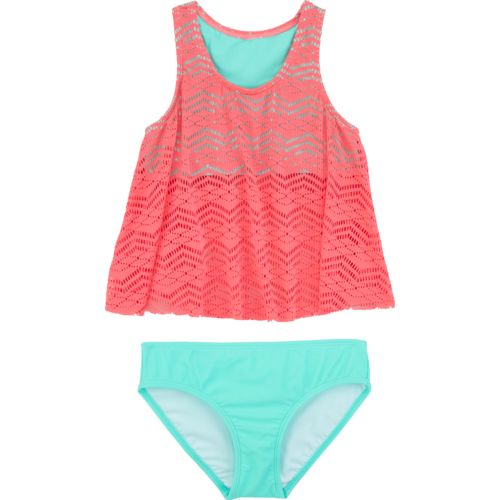 O'Rageous Kids Girls' Art Deco Crocheted 2-Piece Tankini Swimsuit - view number 1