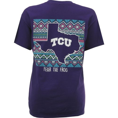 New World Graphics Women's Texas Christian University Terrain State T-shirt