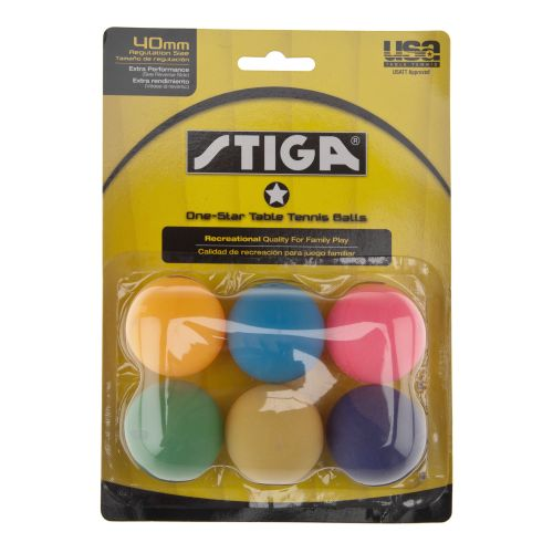 Image for Stiga® One Star 40 mm Regulation Size Table Tennis Balls 6-Pack from Academy