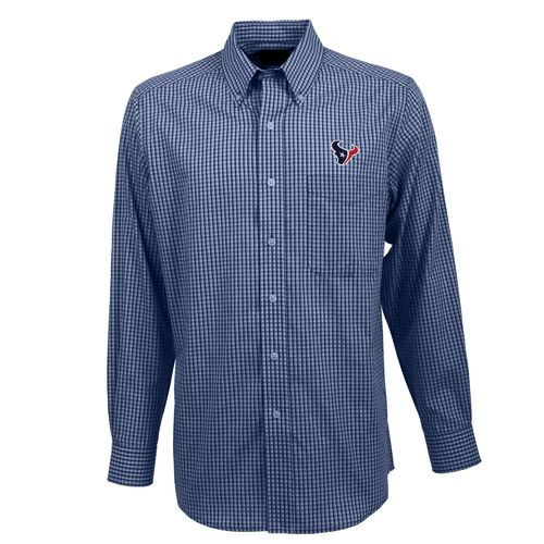 Mens Houston Texans Antigua Navy Blue Exceed Long Sleeve Polo