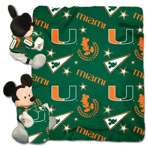 The Northwest Company University of Miami Mickey Mouse Hugger and Fleece Throw Set