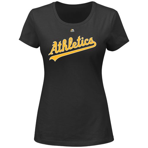 Majestic Women's Oakland Athletics Wordmark Short Sleeve Crew