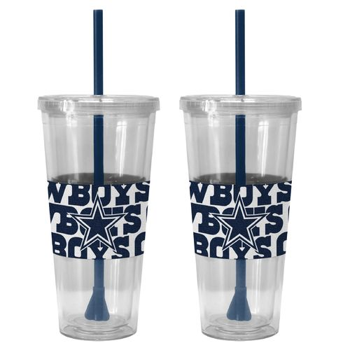 Boelter Brands Dallas Cowboys Bold Neo Sleeve 22 oz. Straw Tumblers 2-Pack