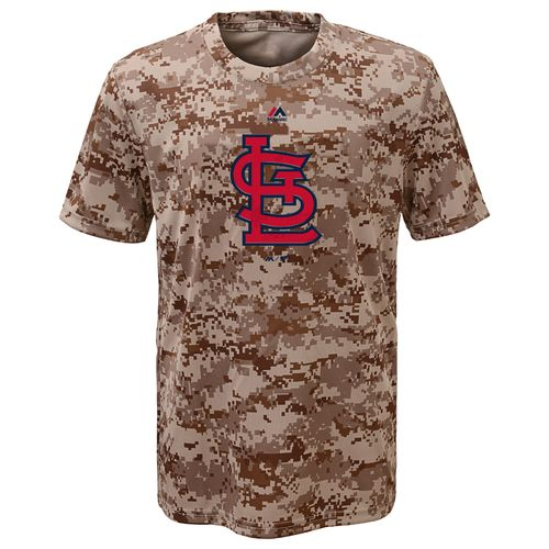 Majestic Boys' St. Louis Cardinals Digi Camo Sublimated Cool Base T-shirt