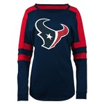 5th & Ocean Clothing Juniors' Houston Texans Glitter Logo Long Sleeve T-shirt