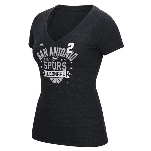 adidas Women's San Antonio Spurs Kawhi Leonard No. 2 Swirl Name and Number T-shirt