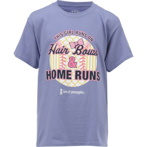 Love & Pineapples Girls' Hair Bows and Home Runs Short Sleeve T-shirt