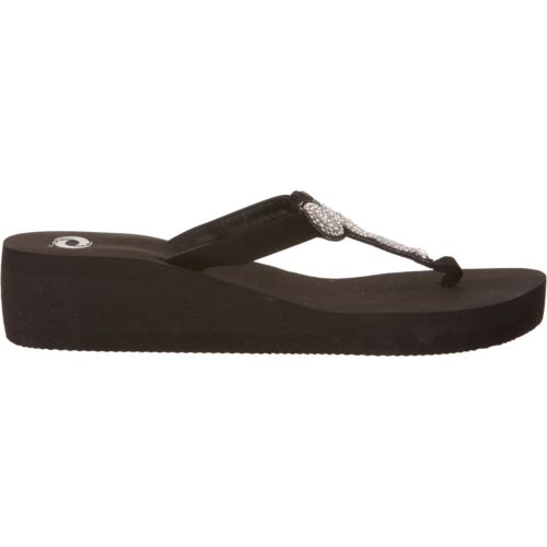 O'Rageous Women's Circle Bling Wedge Flip-Flops