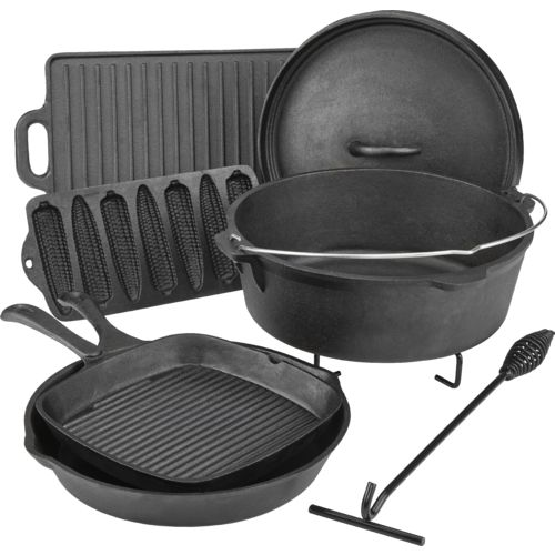 Display product reviews for Outdoor Gourmet Cast-Iron Cookware Set in a Box