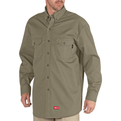 Dickies Men's Flame Resistant Long Sleeve Button Down Shirt