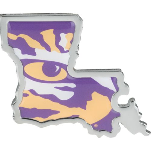 Stockdale Louisiana State University Chrome State Shape Auto Emblem - view number 1