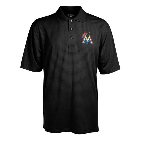 Antigua Men's Miami Marlins Phoenix Pointelle Polo Shirt