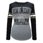 5th & Ocean Clothing Juniors' New Orleans Saints Long Sleeve Henley