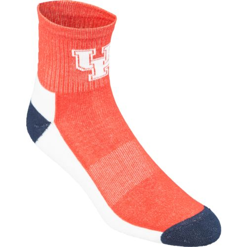 Topsox Men's University of Houston Broken Stripe Quarter Socks 2 Pairs