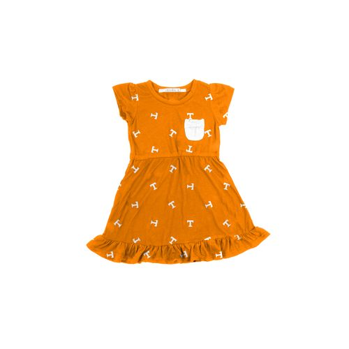 Chicka-d Toddler Girls' University of Tennessee Cap Sleeve Ruffle Dress