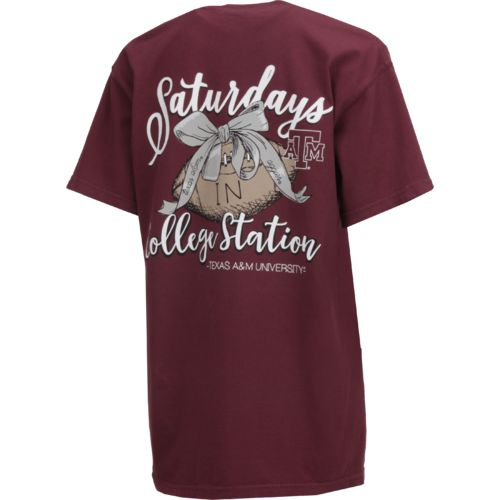 Image One Women's Texas A&M University Laces and Bows Comfort Color T-shirt