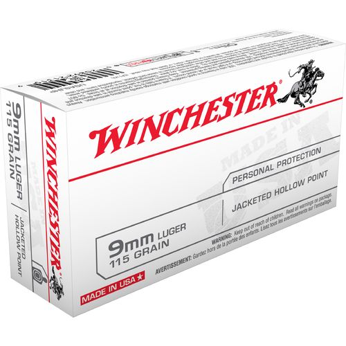 Winchester USA JHP 9 mm Luger 115-Grain Handgun Ammunition