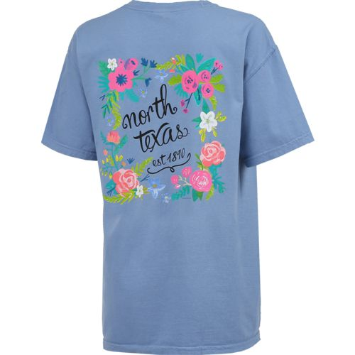 New World Graphics Women's University of North Texas Comfort Color Circle Flowers T-shirt - view number 2
