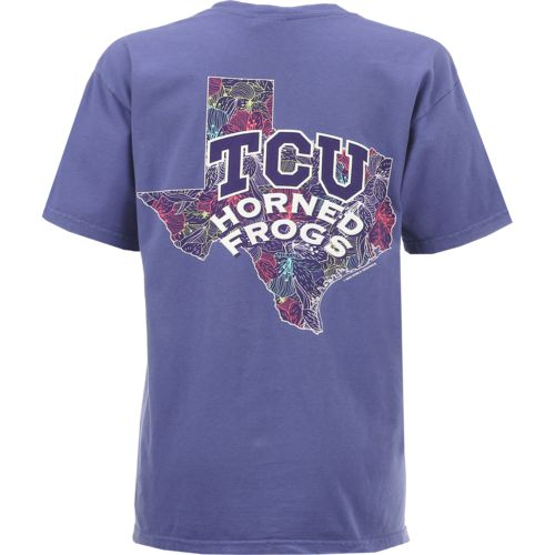 New World Graphics Women's Texas Christian University Comfort Color Puff Arch T-shirt