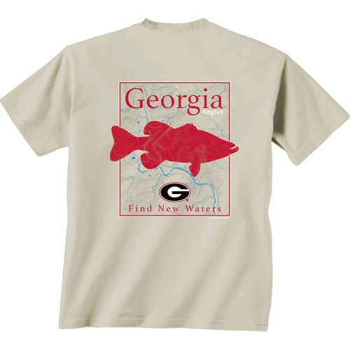 New World Graphics Men's University of Georgia Angler Topo Short Sleeve T-shirt