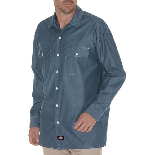 Dickies Men's Relaxed Fit Long Sleeve Chambray Shirt