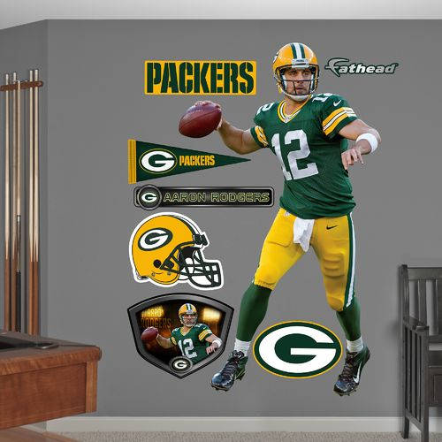 Fathead Green Bay Packers Aaron Rodgers #12 Real Big Wall Decal - view number 1
