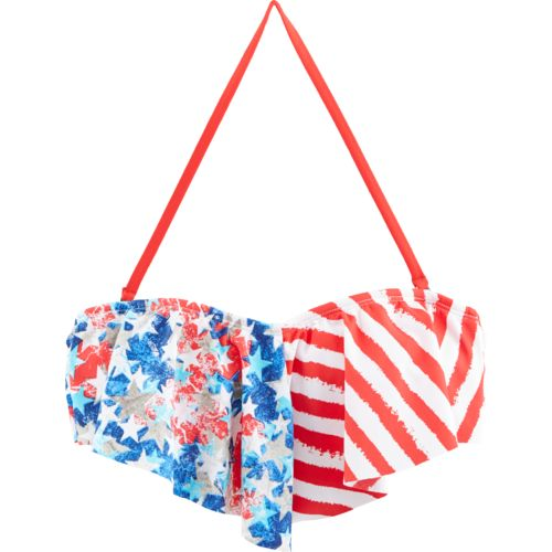 O'Rageous® Juniors' Stars and Stripes Flounce Bandeau Swim Top