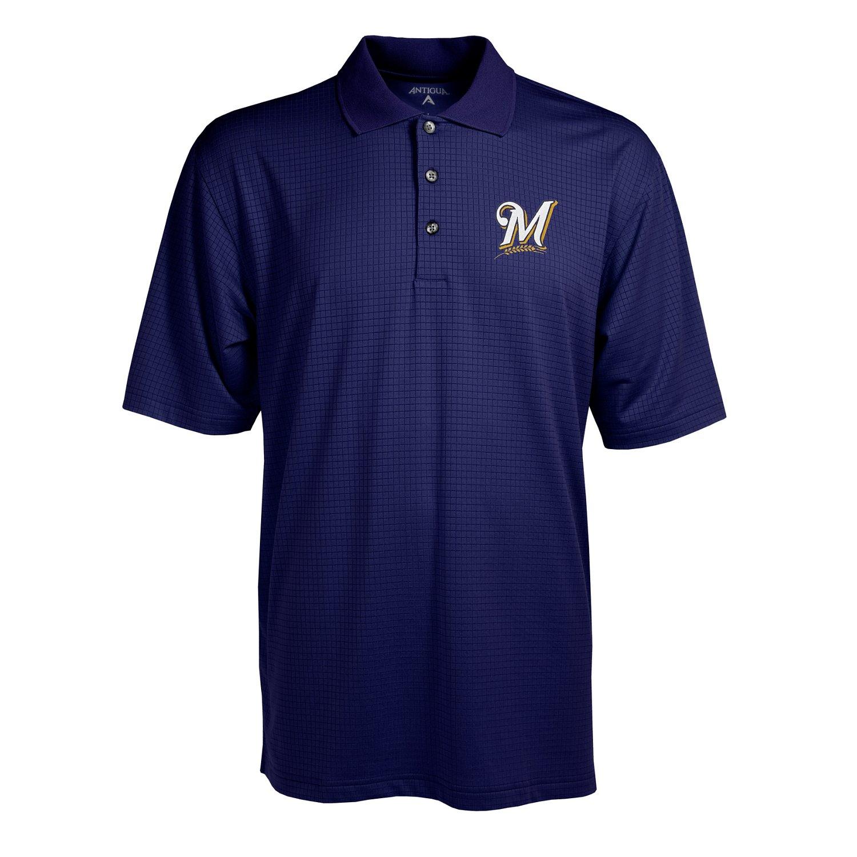 Antigua Men's Milwaukee Brewers Phoenix Pointelle Polo Shirt