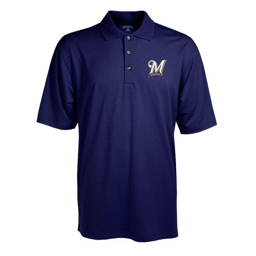 Antigua Men's Milwaukee Brewers Phoenix Pointelle Polo Shirt