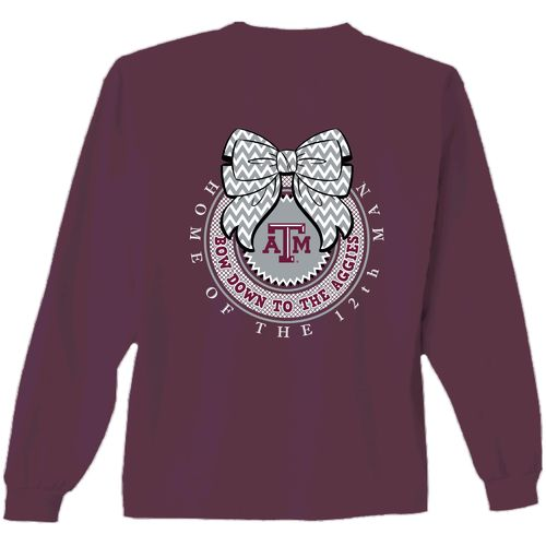New World Graphics Women's Texas A&M University Ribbon Bow Long Sleeve T-shirt