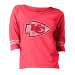 5th & Ocean Clothing Juniors' Kansas City Chiefs Foil and Space Dye Fan T-shirt