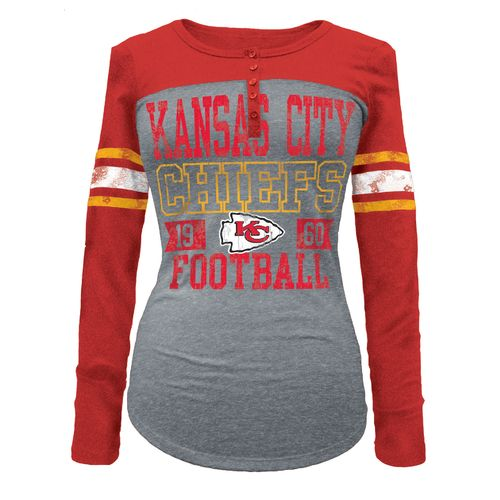 5th & Ocean Clothing Juniors' Kansas City Chiefs Long Sleeve Henley