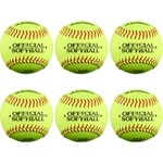 Academy Sports + Outdoors Youth 11 in Leather Softballs 6-Pack - view number 2