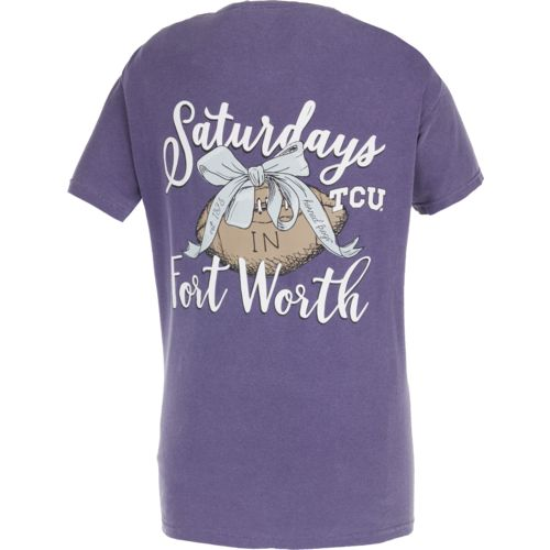 Image One Women's Texas Christian University Laces and Bows Comfort Color T-shirt