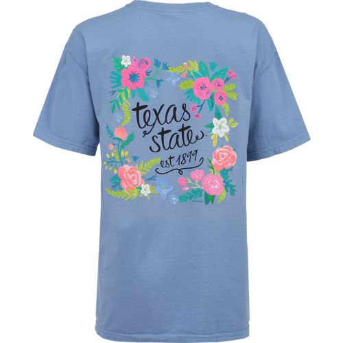 New World Graphics Women's Texas State University Comfort Color Circle Flowers T-shirt
