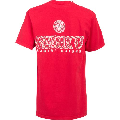 New World Graphics Women's University of Louisiana at Lafayette Comfort Color Initial Pattern T-