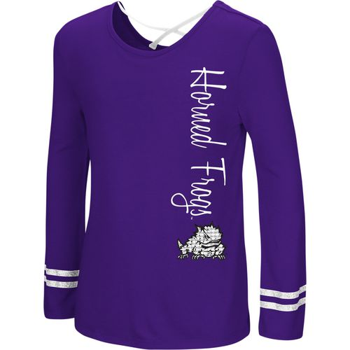 Colosseum Athletics Girls' Texas Christian University Marks the Spot Strappy Back Long Sleeve T-shir