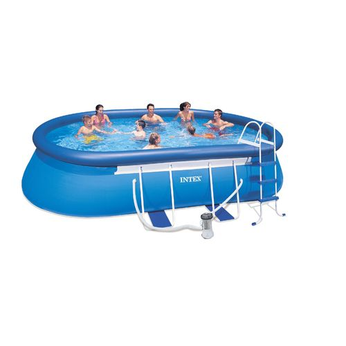 "INTEX® 18' x 10' x 42"" Oval Frame Pool Set with 1,500 Gal Filter Pump"