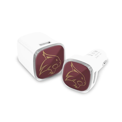 Mizco Texas State University USB Chargers 2-Pack