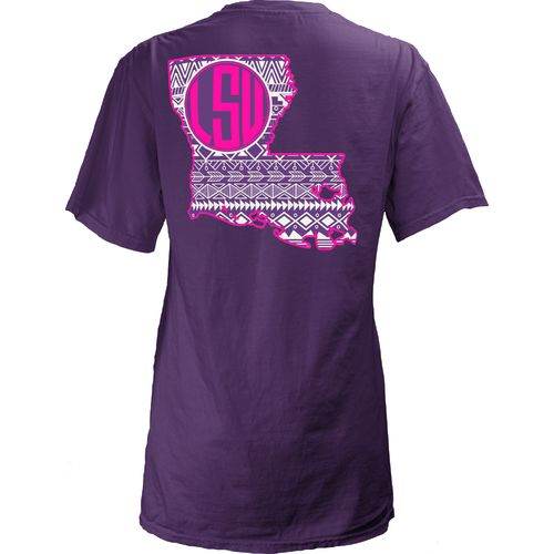 Three Squared Juniors' Louisiana State University Moonface Vee T-shirt