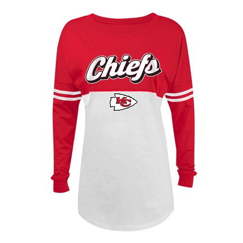 5th & Ocean Clothing Juniors' Kansas City Chiefs Script Long Sleeve Spirit Jersey